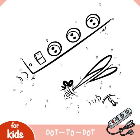 Numbers game, education dot to dot game for children, Power extension cord