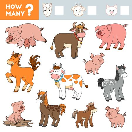 Counting Game for Preschool Children. Educational a mathematical game. Count how many Pigs, Horses, Cows and write the result! 向量圖像
