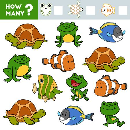 Counting Game for Preschool Children. Educational a mathematical game. Count how many Tortoises, Frogs, Fish and write the result!