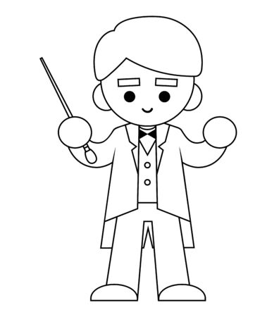 Coloring book for children, The conductor of orchestra and stick Vettoriali