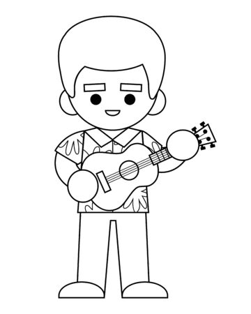 Coloring book for children, Musician man in Hawaiian shirt with ukulele Vector Illustration