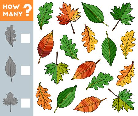 Counting Game for Preschool Children. Educational a mathematical game. Count how many leaves and write the result!