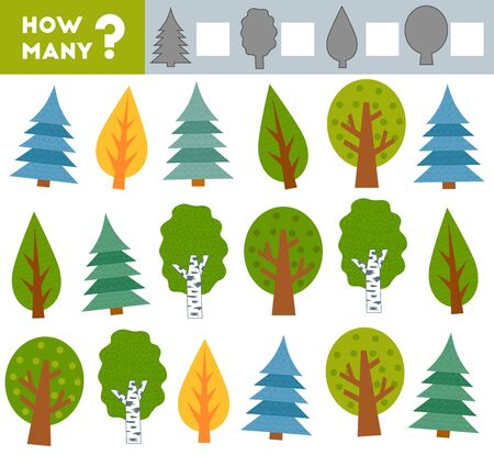 Counting Game for Preschool Children. Educational a mathematical game. Count how many trees and write the result!