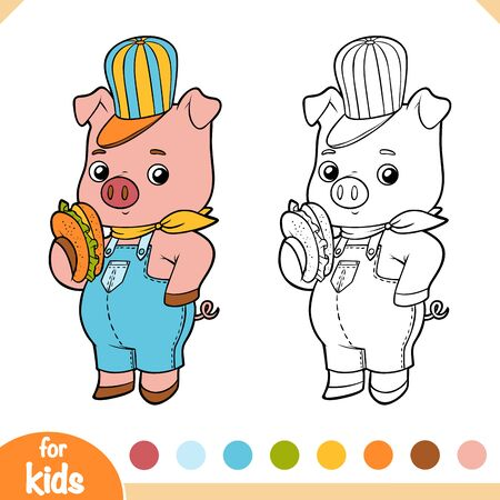 Coloring book for children, Cute pig with a sandwich