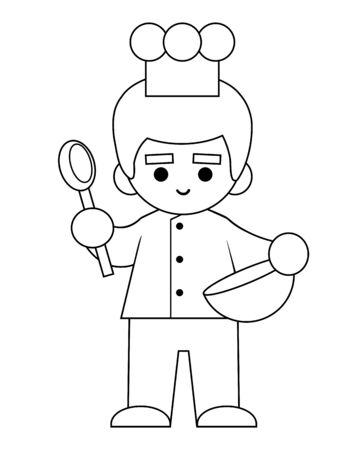 Coloring book for children, Chef with a bowl and a spoon in hands