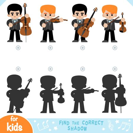 Find the correct shadow, education game for children, set of cartoon musicians
