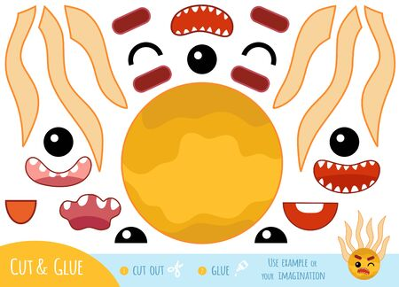 Education paper game for children, Cute bacteria and virus character. Create a funny face for cartoon character. Use scissors and glue to create the image. Vektorgrafik