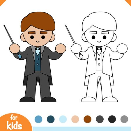 Coloring book for children, The conductor of orchestra and stick