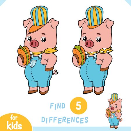 Find differences, educational game for children, Cute pig with a sandwich
