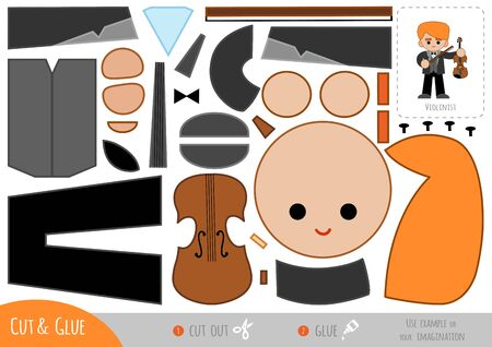 Education paper game for children, Musician man and Violin. Use scissors and glue to create the image.