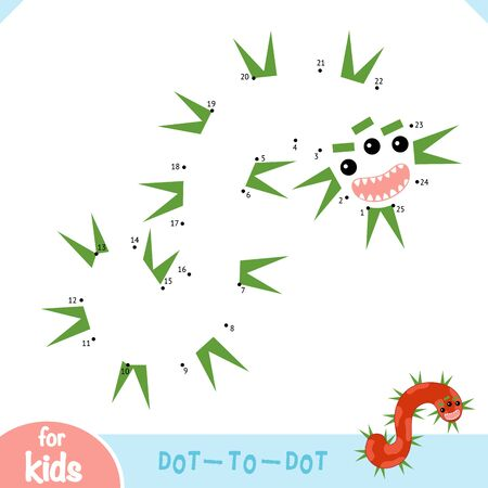 Numbers game, education dot to dot game for children, Cute bacteria and virus character