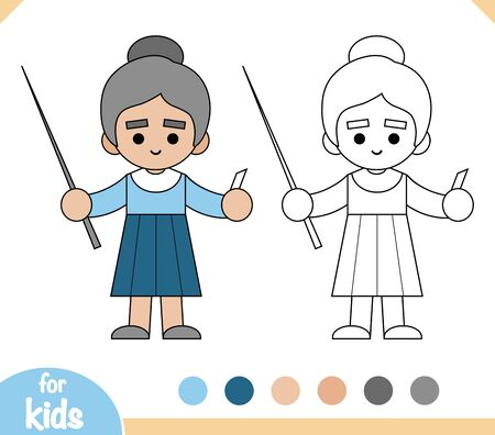 Coloring book for children, Teacher woman with a pointer and chalk in hands
