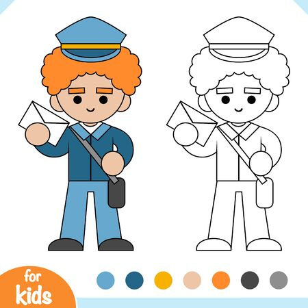 Coloring book for children, Postman holding an envelope