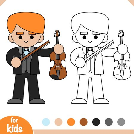 Coloring book for children, Musician man and Violin Ilustrace