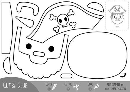 Education paper game for children, Pirate. Use scissors and glue to create the image.