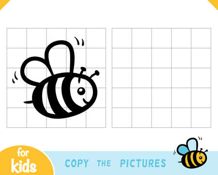 Copy the picture, education game for children, Bee