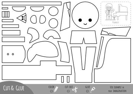 Education paper game for children, Musician and grand piano. Use scissors and glue to create the image. Иллюстрация