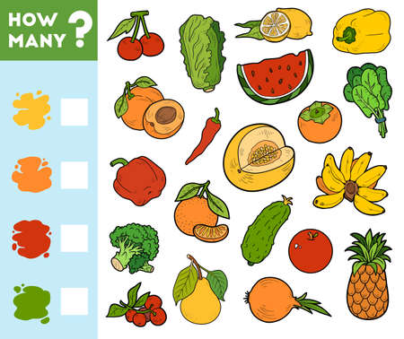 Counting Game for Preschool Children. Educational a mathematical game. Count how many fruits and vegetables by colors and write the result!