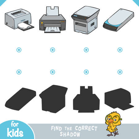 Find the correct shadow, education game for children. Color set of computer equipment. Printers, Copy machine, Image scanner 矢量图像