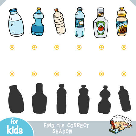 Find the correct shadow, education game for children. Vector set of plastic bottles