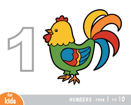Educational poster for children about numbers. Digit one, one rooster. Vector cartoon illustration. Learning counts for preschoolers