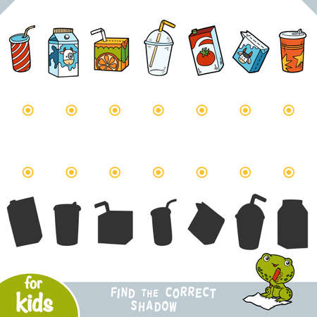 Find the correct shadow, education game for children. Set of packaging drinks - Juice boxes and plastic cups