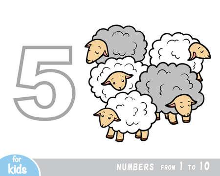Educational poster for children about numbers. Digit five, five sheep. Vector cartoon illustration. Learning counts for preschoolers Vektoros illusztráció