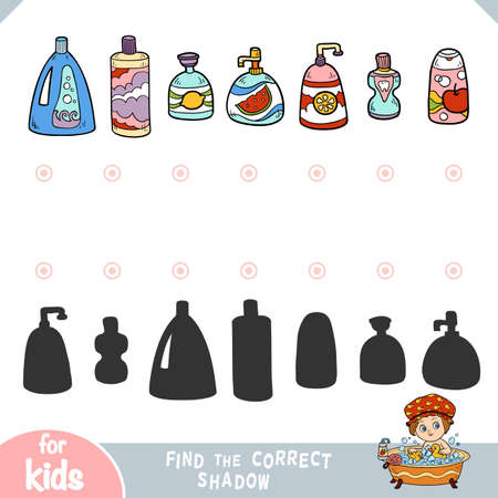 Find the correct shadow, education game for children. Plastic bottles of shower gels, shampoos and liquid soaps Ilustração