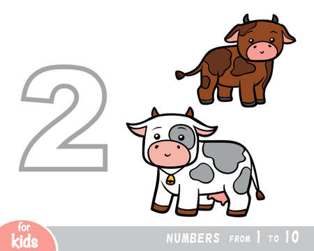 Educational poster for children about numbers. Digit two, two cows. Vector cartoon illustration. Learning counts for preschoolers