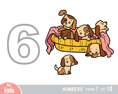 Educational poster for children about numbers. Digit six, six dog. Vector cartoon illustration. Learning counts for preschoolers