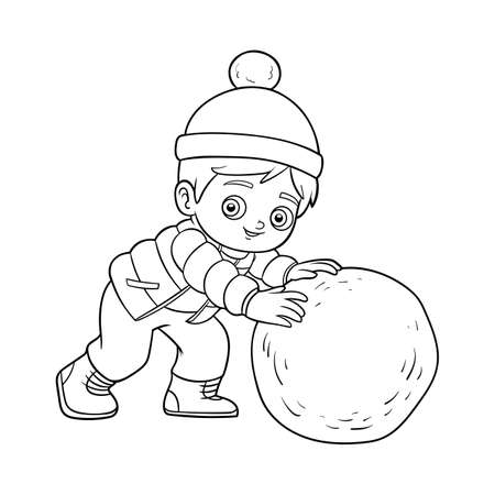 Coloring book for children, Boy and a ball of snow