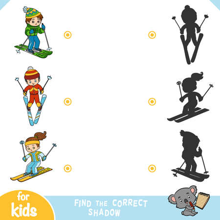 Find the correct shadow, education game for children, Boys And Girl skiers