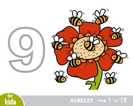 Educational poster for children about numbers. Digit nine, nine bees. Vector cartoon illustration. Learning counts for preschoolers 向量圖像