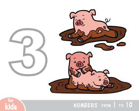 Educational poster for children about numbers. Digit three, three pigs. Vector cartoon illustration. Learning counts for preschoolers