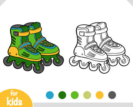 Coloring book for children, Roller skates Illusztráció