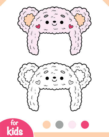 Coloring book for children, cute winter hat with a bear face Vektorgrafik