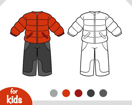 Coloring book for children, Winter snowsuit for boys