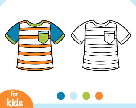 Coloring book for children, striped T-shirt