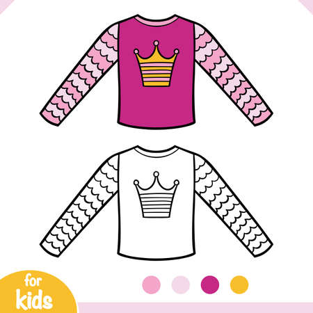 Coloring book for children, Sweatshirt for girls  イラスト・ベクター素材