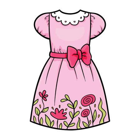 Cartoon vector illustration for children, Dress with flowers  イラスト・ベクター素材