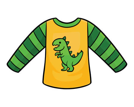 Cartoon vector illustration for children, Sweatshirt with a dinosaur  イラスト・ベクター素材