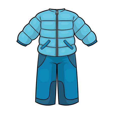Cartoon vector illustration for children, Winter snowsuit for boys  イラスト・ベクター素材