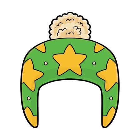 Cartoon vector illustration for children, Hat with stars pattern