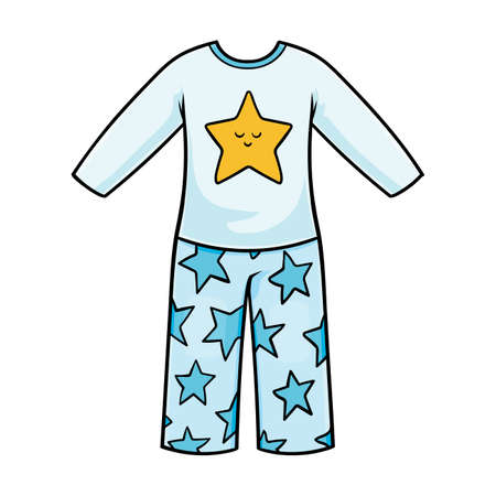 Cartoon vector illustration for children, Pajamas with a stars pattern  イラスト・ベクター素材