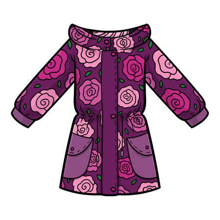 Cartoon vector illustration for children, Girls parka jacket with a roses pattern  イラスト・ベクター素材
