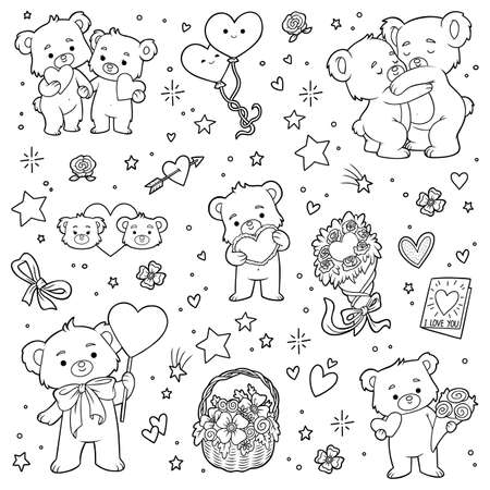 Black and white set of love bears. Vector cartoon Valentines day character collection