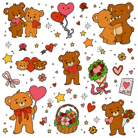 Colorful set of love bears. Vector cartoon Valentines day character collection  イラスト・ベクター素材