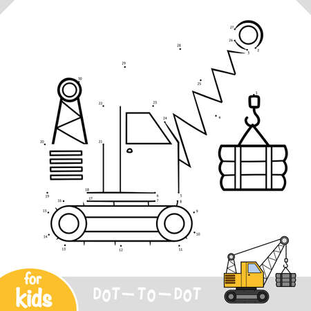 Numbers game, education dot to dot game for children, Tracked crane