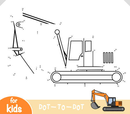 Numbers game, education dot to dot game for children, Excavator  イラスト・ベクター素材