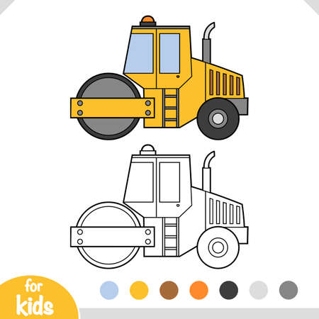 Coloring book for children, Road roller.  イラスト・ベクター素材